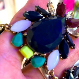 J Crew Neon Purple Green White Crystal Necklace